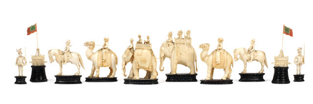 An East India (John Company) ivory figural part or composite chess set, Berhempore, circa 1840,
