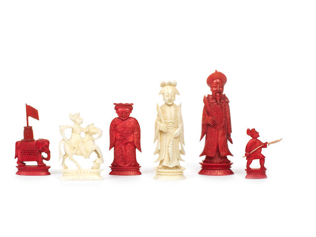 A Chinese Export ivory figural chess set, Canton, early/mid 19th century,