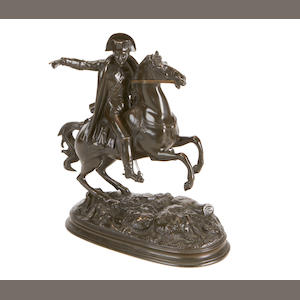 A late 19th century French bronze equestrian figure of Napoleon