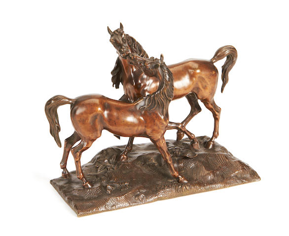 A 19th century French bronze group of two horses