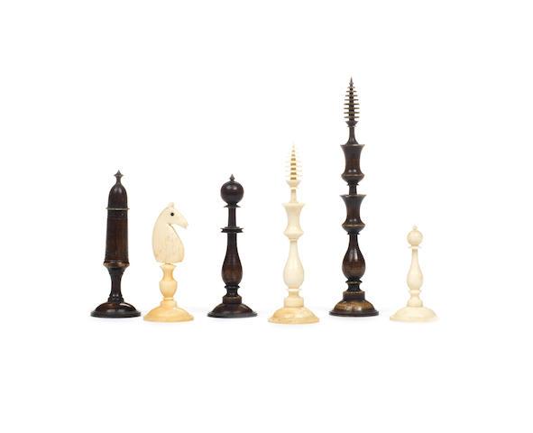 "A ""Biedermeier"" bone chess set, Germany, early/mid 19th century,"