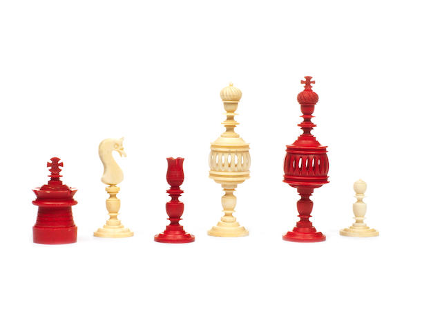 A German bone chess set, Nuremberg, 19th century,