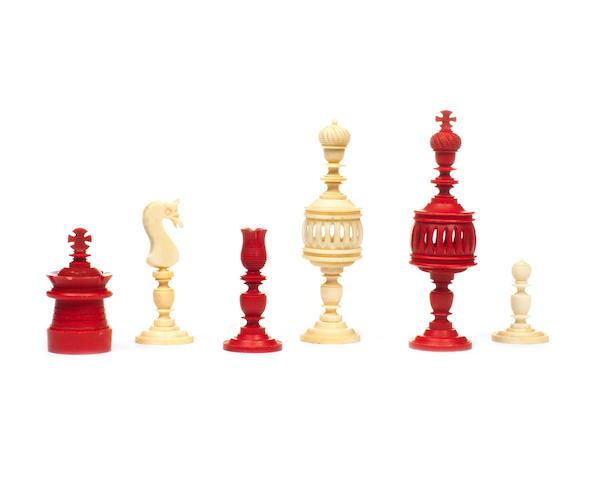 A German bone chess set, Nuremberg, 19th century,