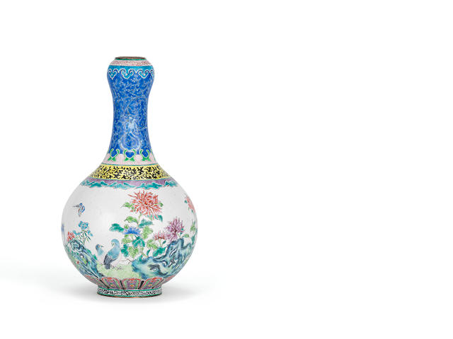 A rare Canton enamel pear-shaped vase Qianlong yulan zhibao seal mark and of the period