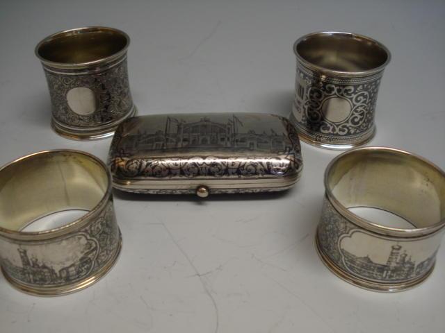 A Russian 19th century niello work cigarette case Moscow 1882,