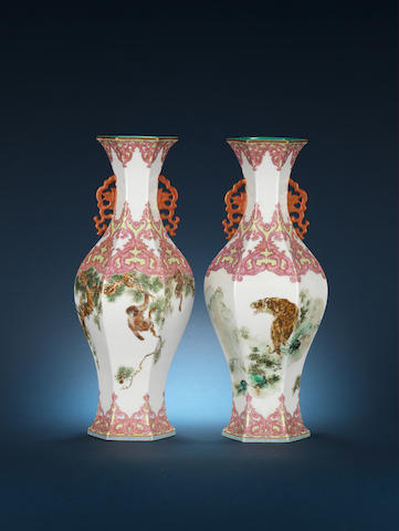 An unusual pair of famille rose hexagonal baluster vases 20th century, iron-red Jingdezhen taoyansuo seal marks