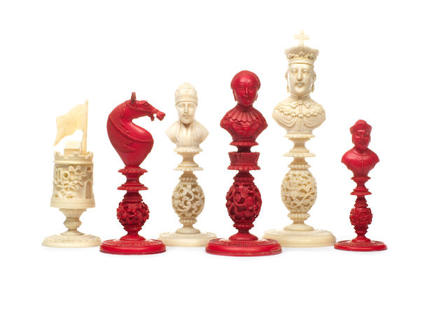 "A Chinese Export ivory ""bust"" chess set, Macao, early 19th century,"