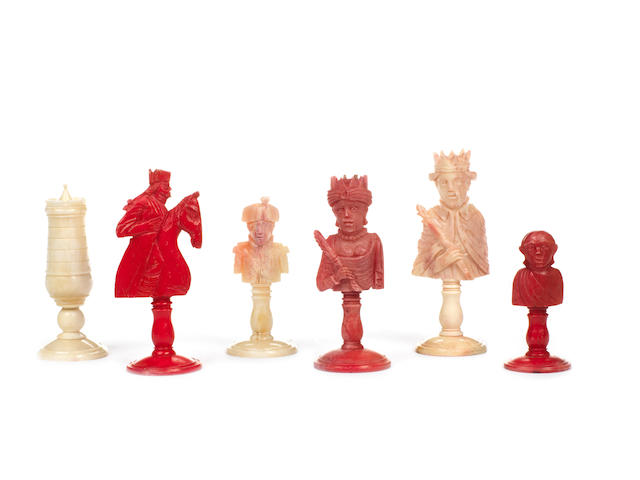 "A French bone ""Napoleonic"" bust chess set, Dieppe, early 19th century,"