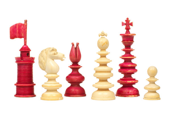 An ivory chess set of large size, English, circa 1850,