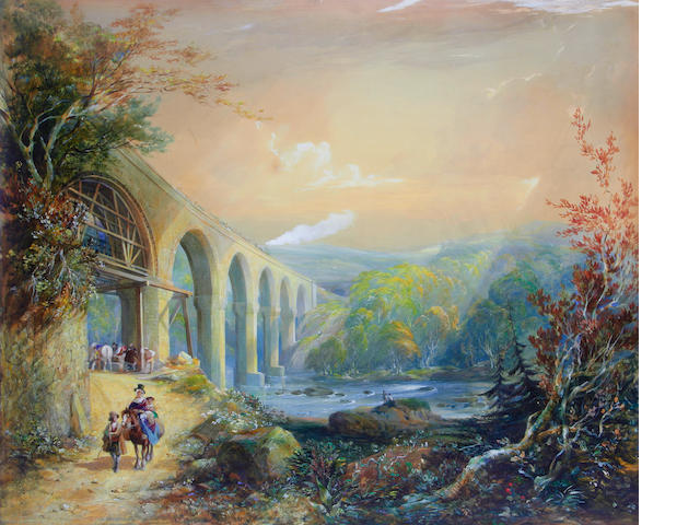 George Childs (1800-1875) Viaduct on the river Taff