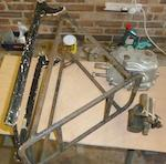A Triumph Model N part-frame and rear forks,