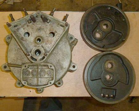 A matched pair of JAP V-Twin 680cc crankcases,