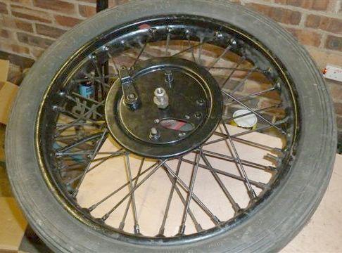 A Triumph TT front wheel,