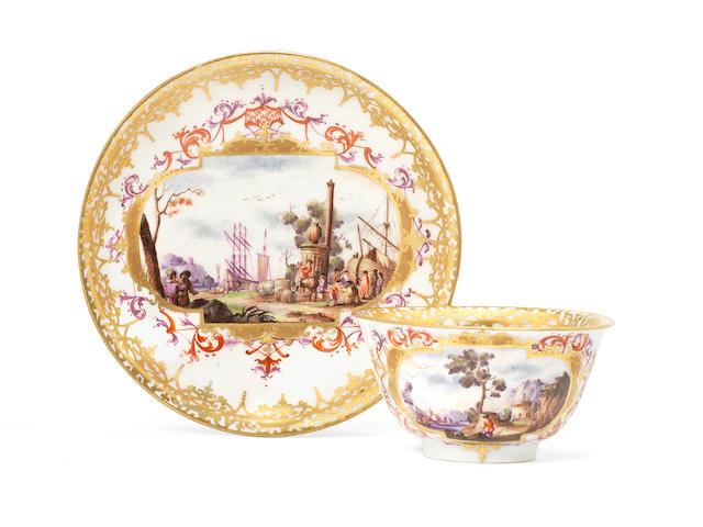 A Meissen teabowl and saucer, circa 1730