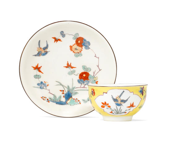 A Meissen yellow-ground teabowl and saucer, circa 1735