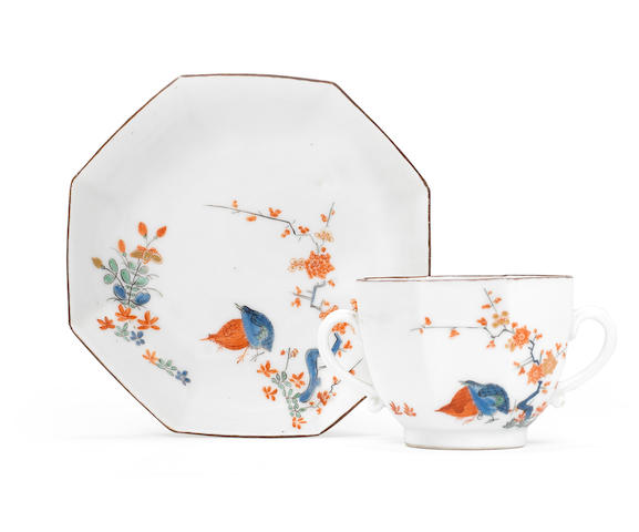 A Meissen octagonal two-handled beaker and saucer from the Japanese Palace, circa 1730