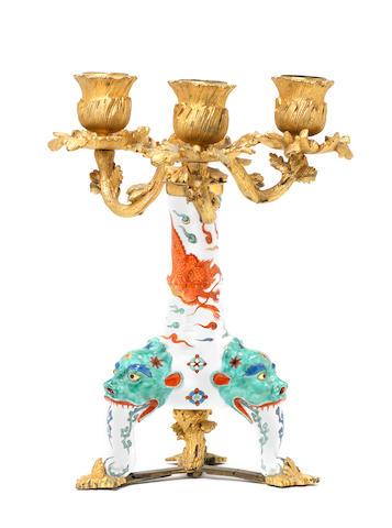 A very rare Meissen ormolu-mounted candlestick, circa 1730