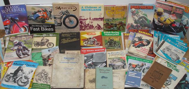 Assorted motorcycling books and literature,
