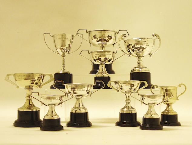 A collection of I.O.M. Southern '100' and other trophies awarded to Charlie Freeman,
