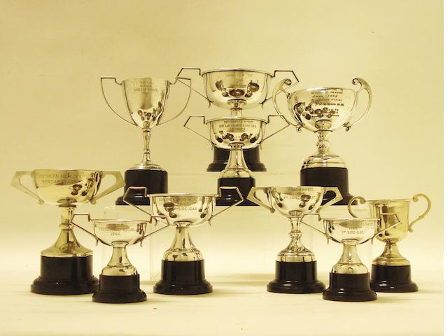A collection of I.O.M. Southern '100' and other trophies, awarded to Charlie Freeman,