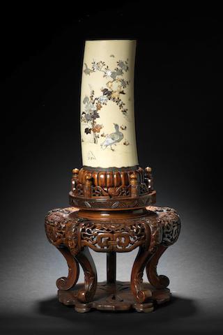A Shibayama-style inlaid ivory tusk vase By Masamitsu, Meiji Period