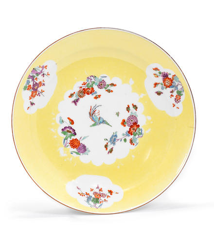 A Meissen yellow-ground plate from the 'Gelbe Jagdservice', circa 1733-34