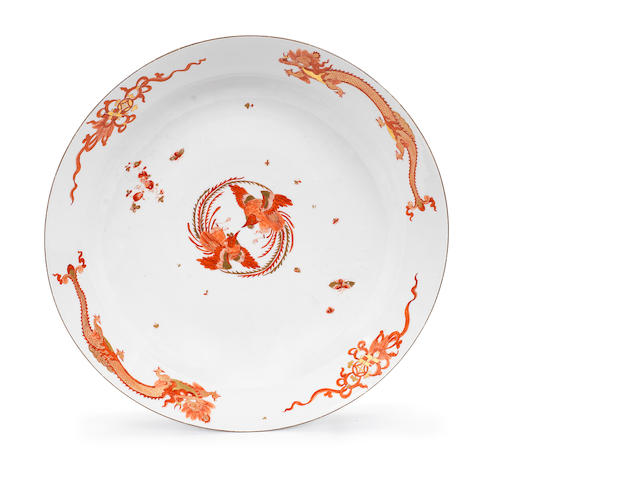 A large Meissen circular dish from the 'Red Dragon' service, circa 1740