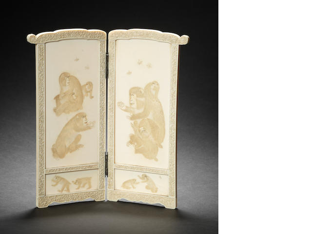 An ivory two-fold table screen By Yoshiaki, Meiji Period