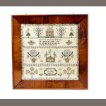 Two samplers and a woolwork picture, 19th century