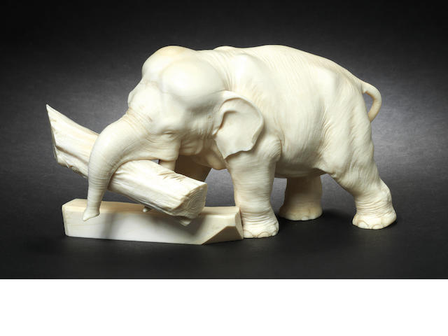 An ivory okimono of an elephant By Ryuichi, Meiji Period