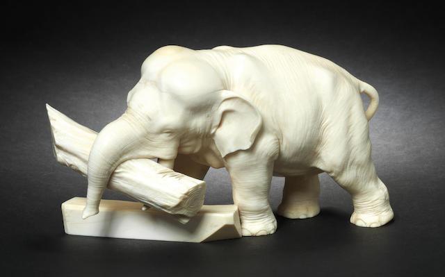 An ivory okimono of an elephant By Ryuichi, Meiji Period