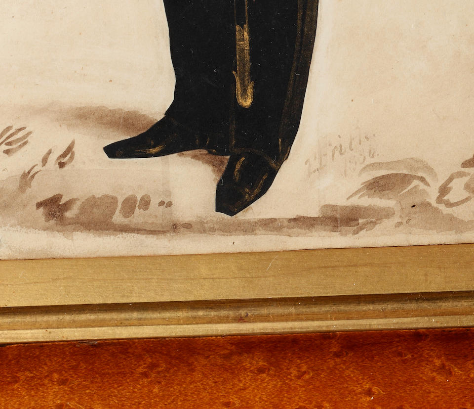 Royal Victoria Gallery (British, after 1837-circa 1854) A silhouette of Captain William James Sutherland of the 21st Foot, full-length, profile to the left, wearing uniform, a sword at his hip and cap in his begloved left hand