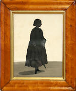 W.H. Beaumont (British, active 1833-1850) A silhouette of a Mary Rose Walton, profile to the right, holding kerchief and parasol; together with two Gentlemen, profile to the right, English School (3)