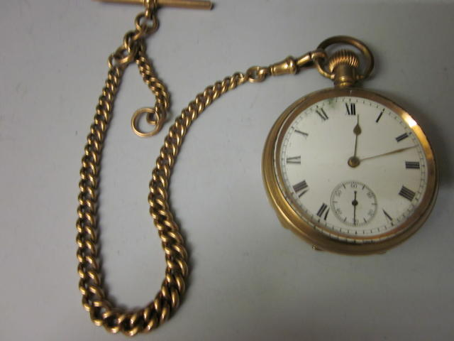 A rolled gold open faced pocket watch,