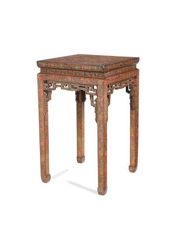 A very rare three-colour lacquer stand, 18th century