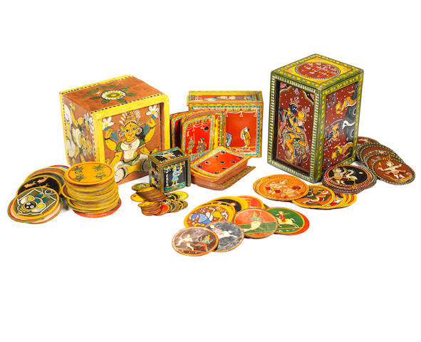 A collection of Ganjifa playing cards, India, 19th/20th centuries,
