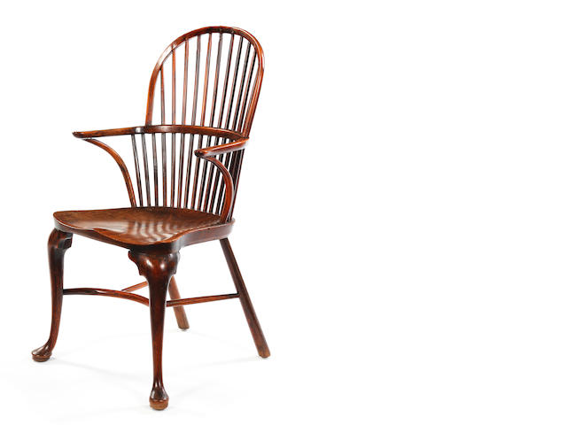 A George III yew and elm stick-back Windsor armchair Thames Valley