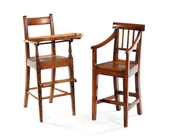 An early 19th century oak child's high chair
