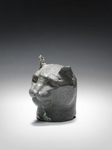 An Egyptian bronze cat head