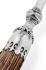 A Victorian silver mounted presentation curling broom Maker's mark of Alexander Drummond of Perth, Edinburgh 1864