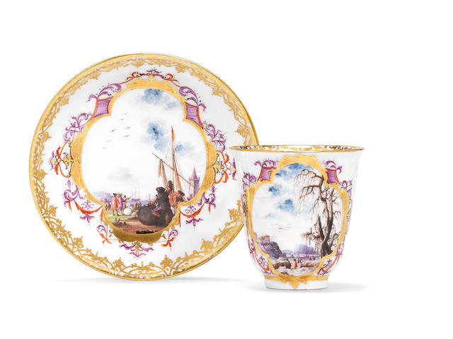 A Meissen chocolate cup and saucer, circa 1730