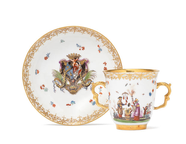 A Meissen armorial two-handled beaker and saucer from the Albani-Borromeo service, circa 1738-39