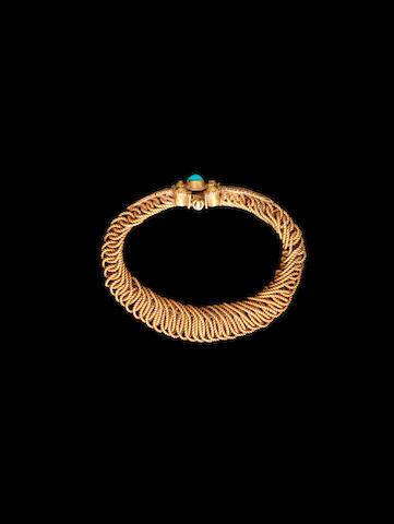 A fine turquoise-set gold wire Bracelet Persia, 11th Century