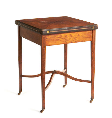 A late Victorian rosewood and fruitwood inlaid envelope card table,