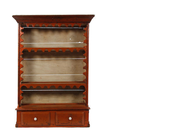 A 19th century pine painted dresser rack, Irish