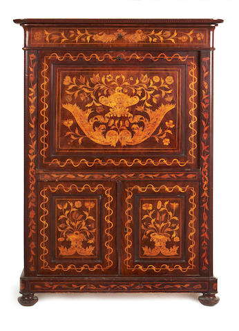 A Dutch 19th century mahogany and fruitwood marquetry secretaire à abattant