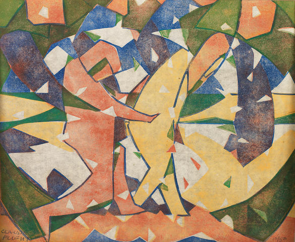 Claude Flight (British, 1881-1955) Autumn Linocut printed in yellow ochre, vermilion, cobalt blue and emerald green, c.1926, a strong and vibrant impression, on thin cream oriental laid paper, signed and numbered 10/50 in pencil, with margins, 245 x 296mm (9 7/8 x 11 6/8in)(B)