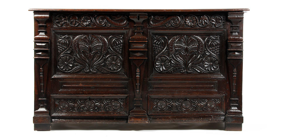 A Charles II oak mule chest South Lancashire, circa 1670