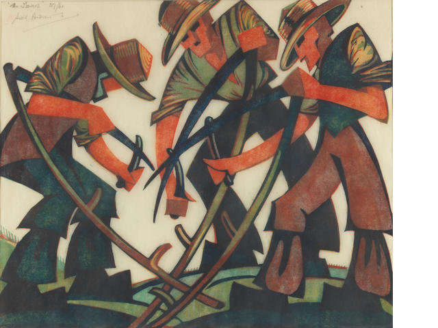 Sybil Andrews, CPE (British/Canadian, 1898-1993) The Mowers Linocut printed in raw sienna, red, viridian and Chinese blue, 1937, on buff oriental laid tissue, signed, titled and numbered 27/60 in pencil, with margins, 292 x 352mm (11 1/2 x 13 7/8in)(B)