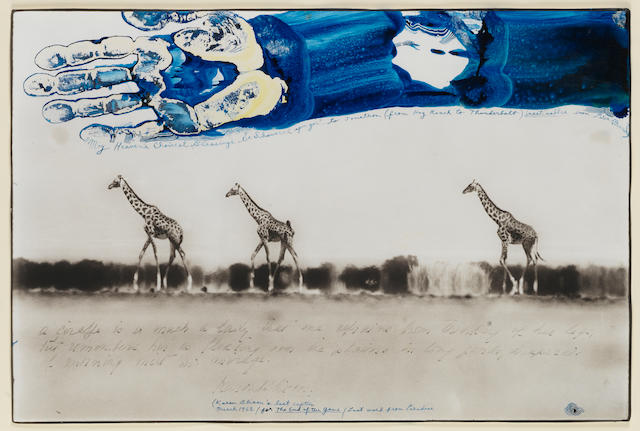 Peter Beard (American, born 1938) Giraffes in Mirage on the Taru Desert, Kenya, June 1960 31.8 x 47.8cm (12 1/2 x 18 13/16in).